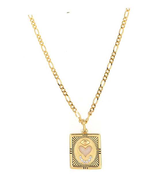 love token necklace inscribed french inspired gold opal