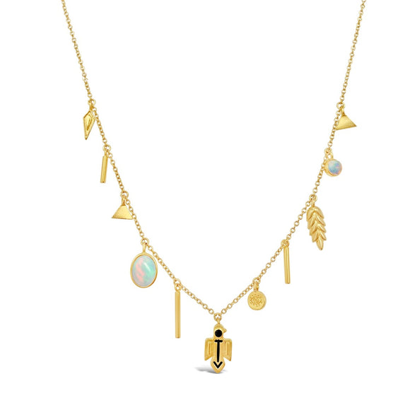 gold opal talisman necklace layering necklace good luck charm