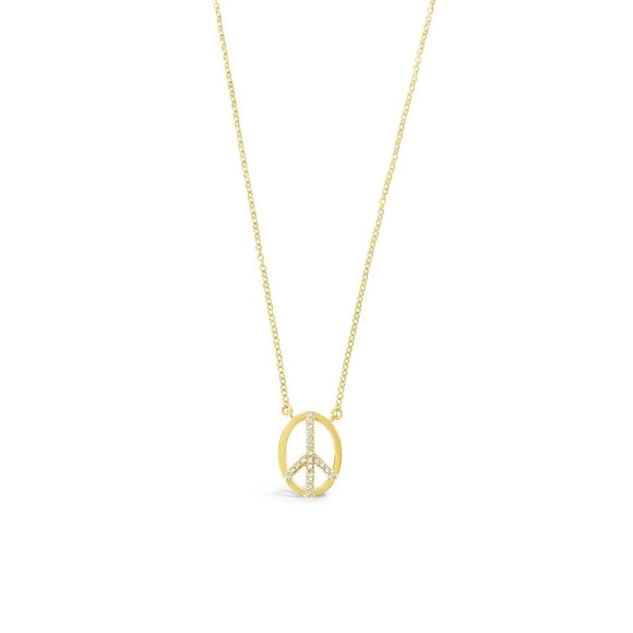 sierra winter gold white topaz peace sign necklace