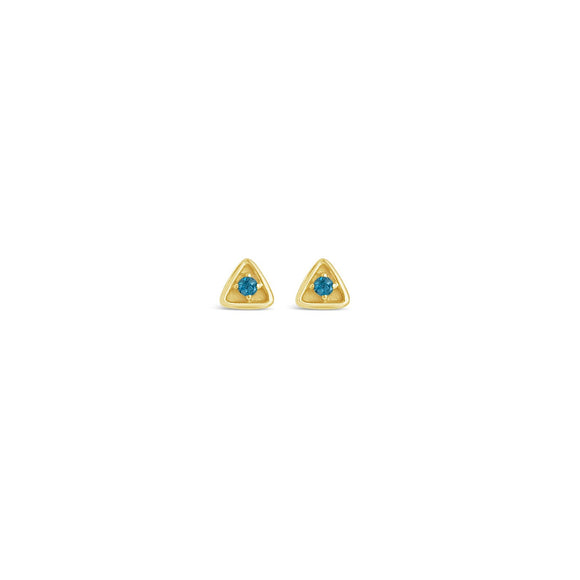 gold and blue topaz stargazer stud earrings