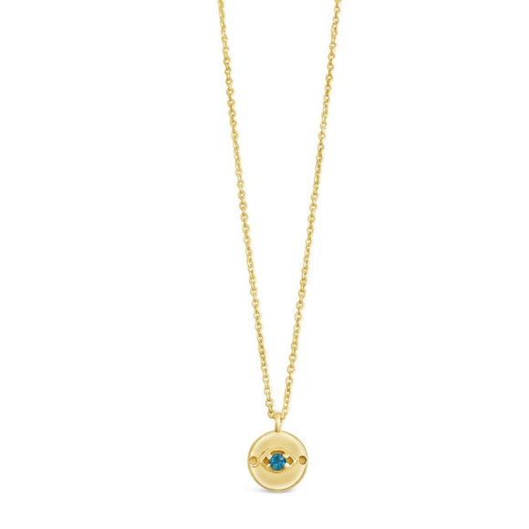 gold and london blue topaz evil eye necklace
