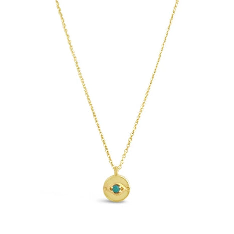 gold and turquoise evil eye necklace