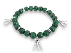 malachite and silver bracelet