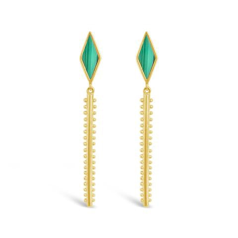 malachite and gold drop earrings