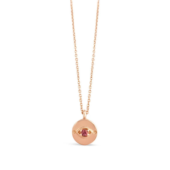 rose gold pink sapphire evil eye necklace