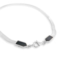 silver and onyx snake chain necklace
