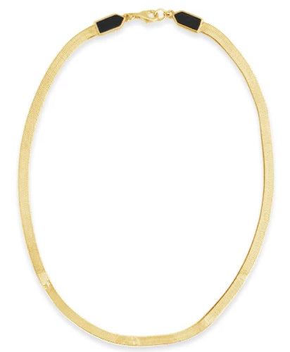 gold and onyx snake chain necklace