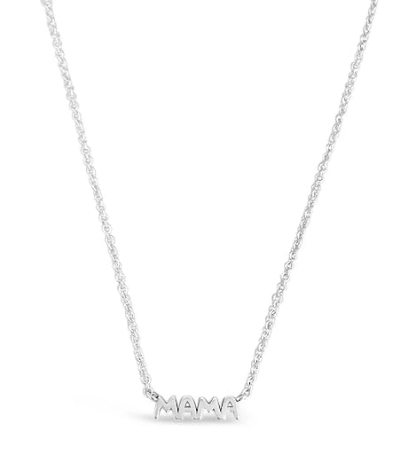 silver dainty mama necklace for moms