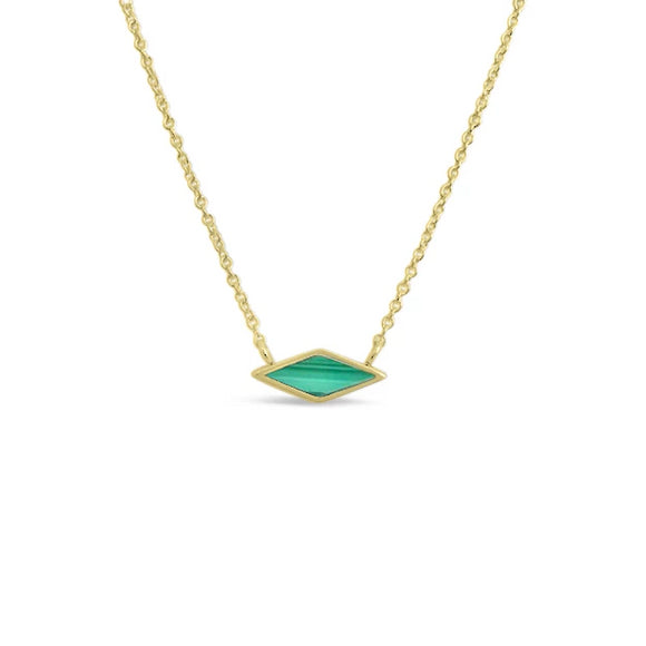 gold vermeil malachite pendant necklace