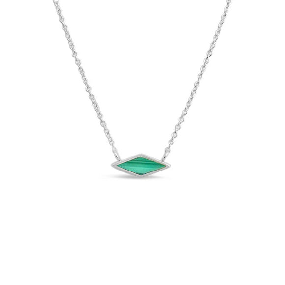 sterling silver and malachite pendant necklace