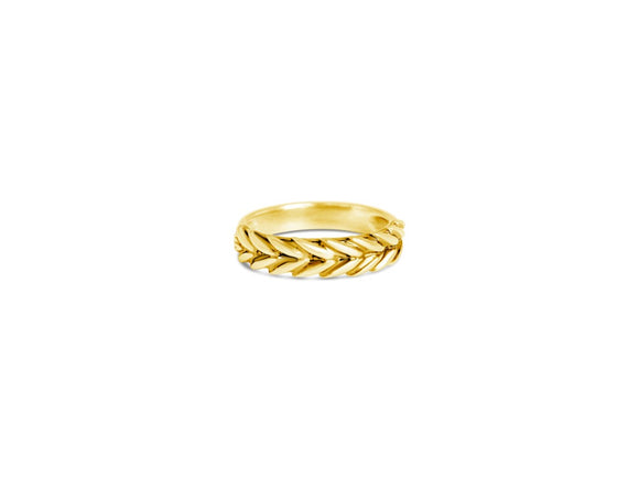 harvest wheat thick gold band ring inscribed