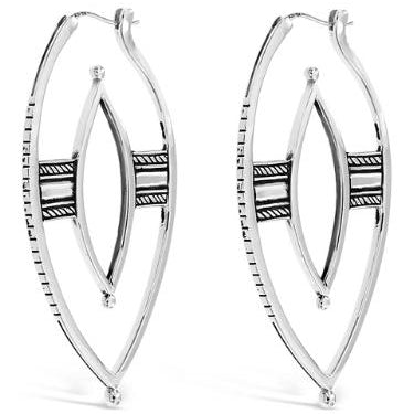 warrior silver hoop earrings