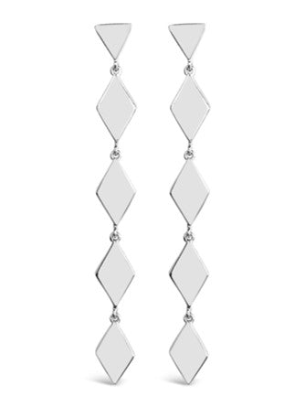 silver geometric dangle drop earrings