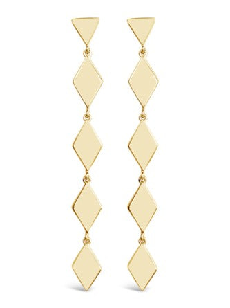 gold geometric dangle drop earrings
