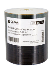Capax Glossy Watershield Full White Inkjet Printable DVD-R Pack of 100. sku:112139