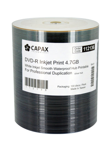 Capax Smooth Watershield Full White Inkjet Printable DVD-R Pack of 100. SKU:112136