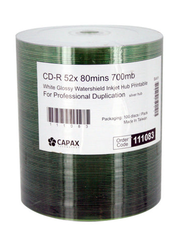 Capax Glossy Watershield  Full White Inkjet Printable CDR Pack of 100