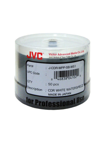 JVC/ Taiyo Yuden Glossy Watershield Full White Inkjet Printable CDR Pack of 50