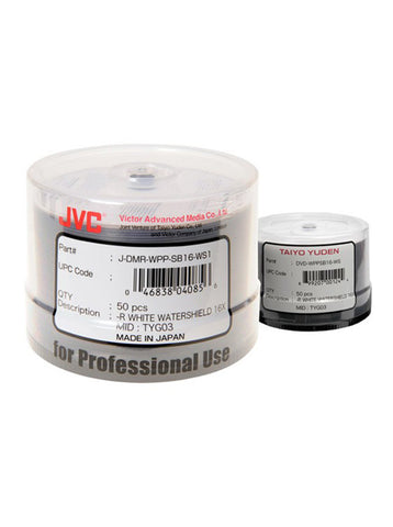 JVC/ Taiyo Yuden Glossy Watershield Full White Inkjet Printable DVD-R Pack of 50