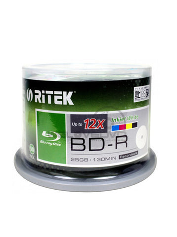 Ritek Bluray BD-R 6X 25Gb White Inkjet Printable 50 Pack