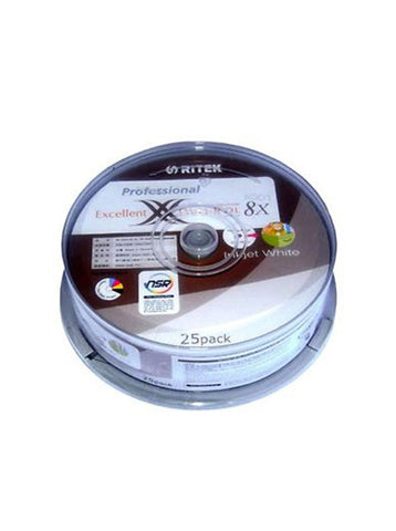 Ritek Dual Layer DVD+R DL 8.5Gb Inkjet Printable  25 Pack