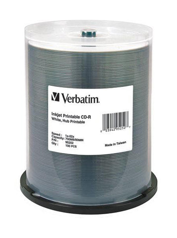 Verbatim Full White Inkjet printable CDR ( 95252 ) Pack of 100