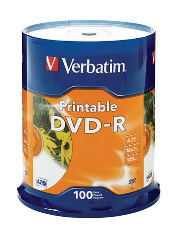 Verbatim White Inkjet Printable DVD-R ( 95153 ) Pack of 100
