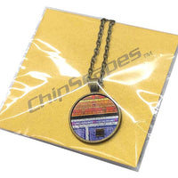 Item023: Memory Art Necklace - Bronze, Silver, Red, Purple