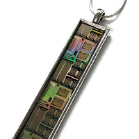 Item026: Silicon Wafer Telephone Circuit Pendant -  Silver & Rainbow Colors, AMI