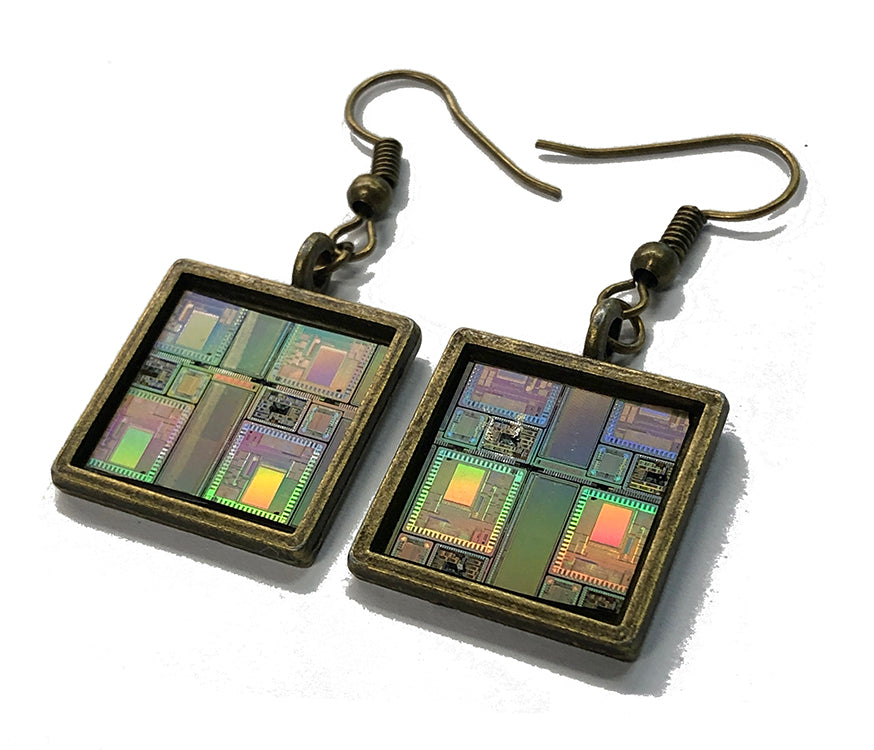 Item025: Silicon Wafer Communication Chip Earrings -  Bronze & Rainbow Colors, AMI