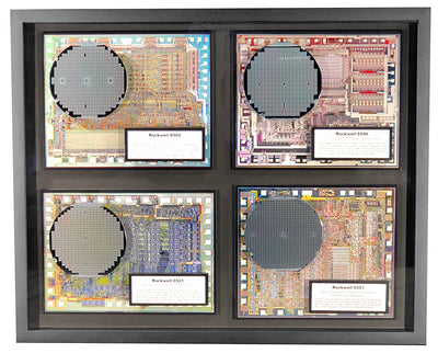 Rare Collection of Four 6502 Family Silicon Wafers - 6502 CPU, 6521 PIA, 6549 CVDG, 6551 ACIA/UART - 4