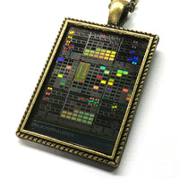 Item031: Silicon Wafer Cryptographic Test Circuits Pendant -  Bronze, Rainbow Colors