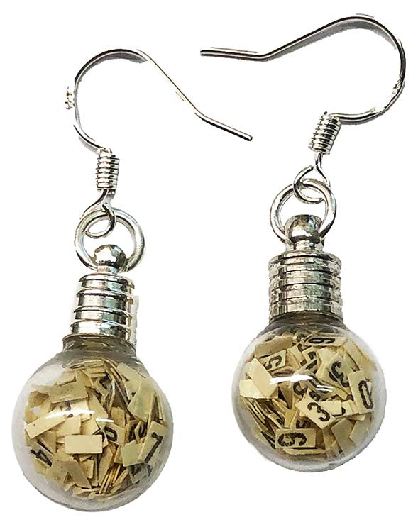 Item008: IBM Globe Earrings - IBM 80 Column Punch Card Chad