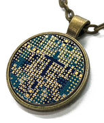 Circuit Board Pendant - Graphics Card, Round, Blue and Gold, Cross