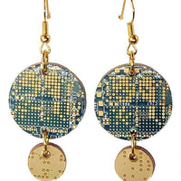 Communication Board Earrings - Nortel, Dangles, Round, Green, Gold