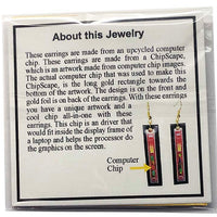 Computer Chip Earrings - Logic Chip, Dangles, Long Rectangle, Red, Gold