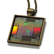Item024: Silicon Wafer Test Circuits Pendant -  Bronze, Rainbow Colors