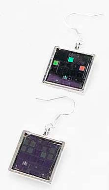 Silicon Wafer Earrings -  Silver/Purple/Rainbow