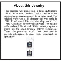 Item018: Silicon Wafer Microprocessor Earrings -  Silver & Rainbow Colors, Texas Instruments