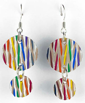 Computer Ethernet Cable Earrings - woven, fabric, primitive, round