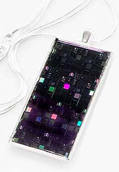 Silicon Wafer Pendant -  Silver/Purple/Rainbow