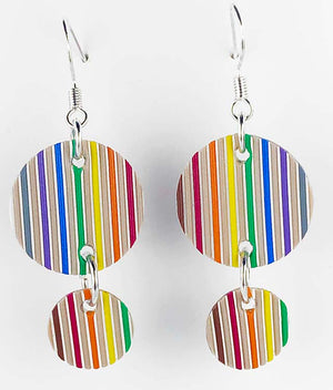 Computer Ribbon Cable Earrings - rainbow, woven, fabric, primitive, round