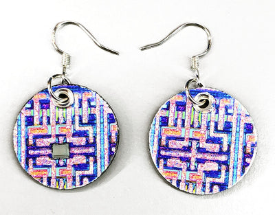 Computer Memory Chip Earrings - Blue/Purple/Pink/Silver