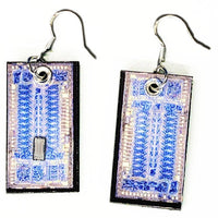 Item004: Computer Chip Earrings - Logic Chip, Dangles, Round, Blue, Silver, TRW