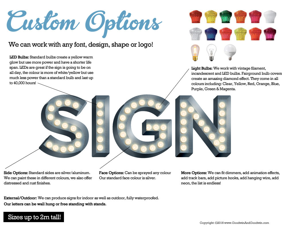 Light Bulb Letter Options