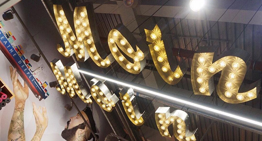 Ceiling hung light letters
