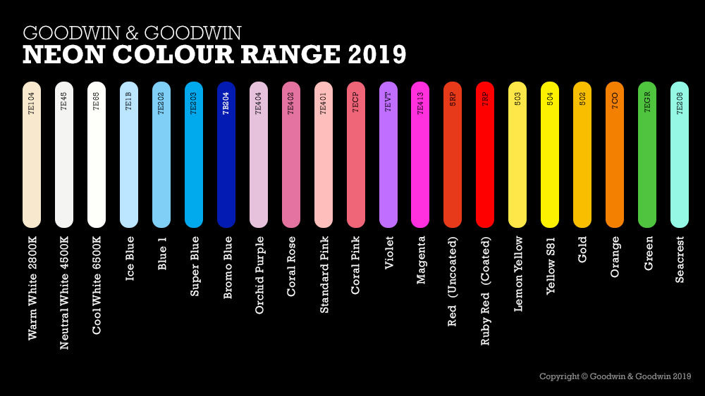Neon Sign Colour Chart