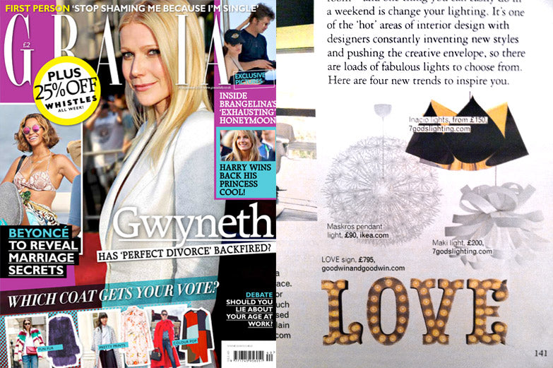 Grazia Magazine October 2014 - Light Up Letters