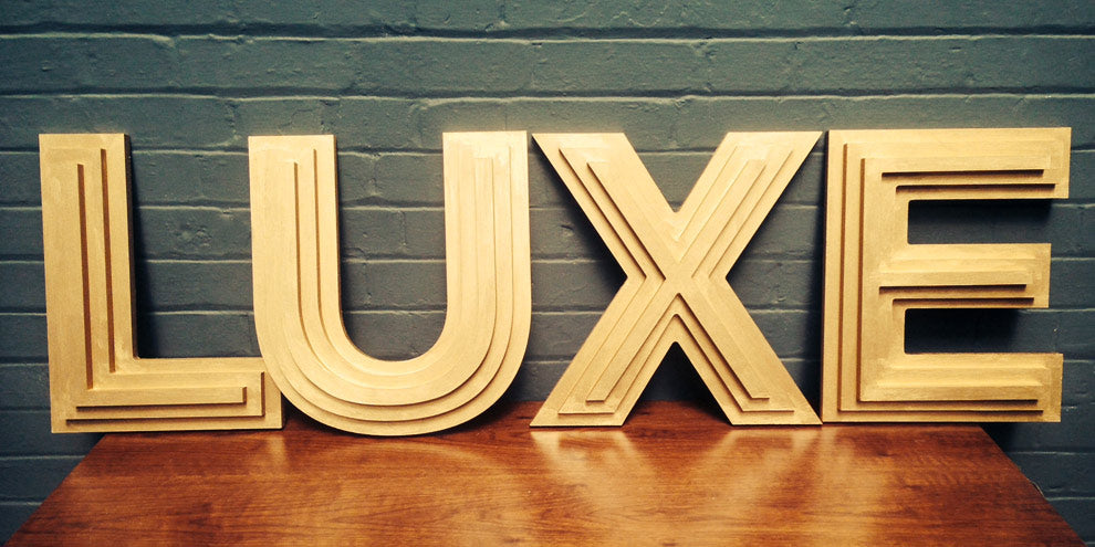 LUXE gold layered letters