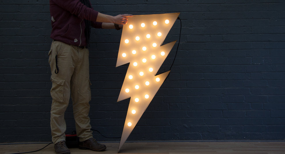 lightning strike bulb sign